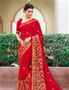 image of Red Embellished Fancy Saree Georgette And Net Saree With Lace