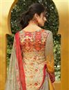 photo of Thread Work Embroidered Cotton Printed Dark Beige Straight Cut Suit