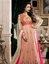 image of Malaika Arora Elegant Embroidery On Beige Party Wear Anarkali Suit In Georgette
