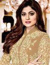photo of Shamita Shetty Georgette Beige Designer Suit With Front Slit