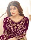 photo of Shamita Shetty Purple Function Wear Long Floor Length Georgette Anarkali Salwar Suit