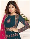 photo of Shamita Shetty Teal Party Style Designer Floor Length Anarkali Dress In Georgette