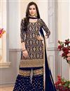 image of Embellished Georgette Navy Blue Fancy Sharara Suit