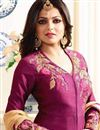 photo of Wedding Special Drashti Dhami Featuring Embroidery Work On Burgundy Designer Salwar Kameez