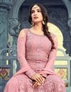 photo of Sonal Chauhan Featuring Embroidery Designs On Pink Party Wear Palazzo Suit In Net Fabric