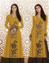 image of Party Wear Georgette Mustard Anarkali Dress