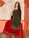 photo of Black Color Designer Embroidered Sharara Suit In Georgette Fabric