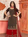 image of Black Color Designer Embroidered Sharara Suit In Georgette Fabric