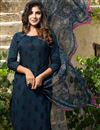 image of Cotton Thread Work Embroidered Navy Blue Dress With Digital Print Dupatta