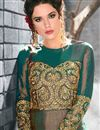 photo of Teal Art Silk Function Wear Long Embellished Anarkali Suit