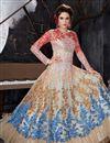 photo of Wedding Special Function Wear Cream Fancy Long Anarkali Salwar Kameez In Net