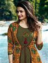 photo of Prachi Desai Green Long Printed Crepe And Satin Kurti With Jacket
