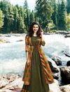 image of Prachi Desai Green Long Printed Crepe And Satin Kurti With Jacket