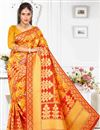 image of Mustard Art Silk Occasion Wear Traditional Saree With Weaving Work