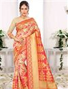 image of Weaving Designs On Cream Art Silk Traditional Saree With Blouse