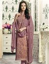image of Straight Cut Cotton Lavender Color Churidar Dress With Threadwork