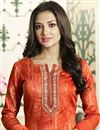 photo of Cotton Straight Cut Churidar Suit In Rust Color With Threadwork