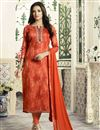 image of Cotton Straight Cut Churidar Suit In Rust Color With Threadwork