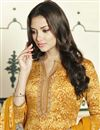 photo of Yellow Straight Cut Churidar Suit In Cotton With Threadwork