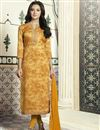 image of Yellow Straight Cut Churidar Suit In Cotton With Threadwork