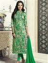 image of Straight Cut Green Printed Churidar Dress With Threadwork In Cotton