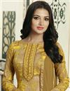 photo of Yellow Color Straight Cut Churidar Suit In Cotton With Threadwork