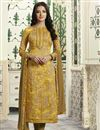 image of Yellow Color Straight Cut Churidar Suit In Cotton With Threadwork