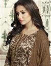 photo of Dark Beige Cotton Straight Churidar Dress With Threadwork