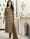 image of Dark Beige Cotton Straight Churidar Dress With Threadwork