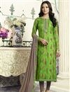 image of Straight Cut Cotton Printed Churidar Dress With Threadwork In Green