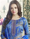 photo of Printed Blue Cotton Straight Cut Churidar Dress With Threadwork