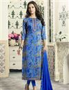 image of Printed Blue Cotton Straight Cut Churidar Dress With Threadwork