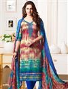 image of Cotton Fabric Multi Color Straight Churidar Dress With Print Work