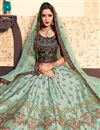 photo of Exclusive Satin Embellished Sangeet Wear Lehenga Choli In Cyan