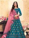 image of Exclusive Function Wear Fancy Embroidered Lehenga Choli In Sky Blue Satin