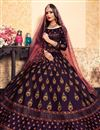 photo of Exclusive Satin Fabric Embellished Sangeet Wear Lehenga Choli In Wine