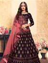 image of Exclusive Satin Fabric Embellished Sangeet Wear Lehenga Choli In Wine