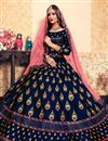 photo of Exclusive Wedding Function Wear Satin Fabric Navy Blue Designer Lehenga Choli