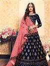 image of Exclusive Wedding Function Wear Satin Fabric Navy Blue Designer Lehenga Choli