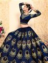 photo of Exclusive Navy Blue Satin Fabric Designer Sangeet Wear Embroidered Lehenga
