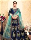image of Exclusive Navy Blue Satin Fabric Designer Sangeet Wear Embroidered Lehenga