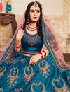 photo of Exclusive Function Wear Fancy Embroidered Lehenga Choli In Sky Blue Satin Fabric