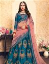 image of Exclusive Function Wear Fancy Embroidered Lehenga Choli In Sky Blue Satin Fabric