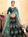 image of Exclusive Satin Designer Function Wear Embroidered Lehenga In Teal