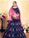 image of Exclusive Navy Blue Designer Function Wear Embroidered Lehenga In Satin