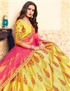photo of Exclusive Satin Designer Yellow Sangeet Wear Embroidered Lehenga
