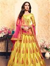 image of Exclusive Satin Designer Yellow Sangeet Wear Embroidered Lehenga