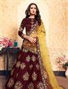 image of Exclusive Satin Fabric Designer Function Wear Embroidered Lehenga In Maroon