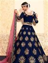 photo of Exclusive Embellished Satin Fabric Sangeet Wear Lehenga Choli In Navy Blue
