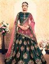image of Exclusive Satin Fabric Wedding Function Wear Teal Designer Lehenga Choli
